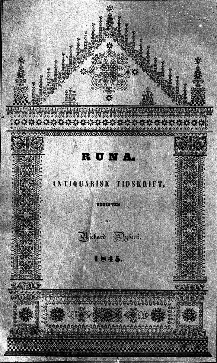 Runa. R Dybeck, 1845. Fotograf KJ Österberg?