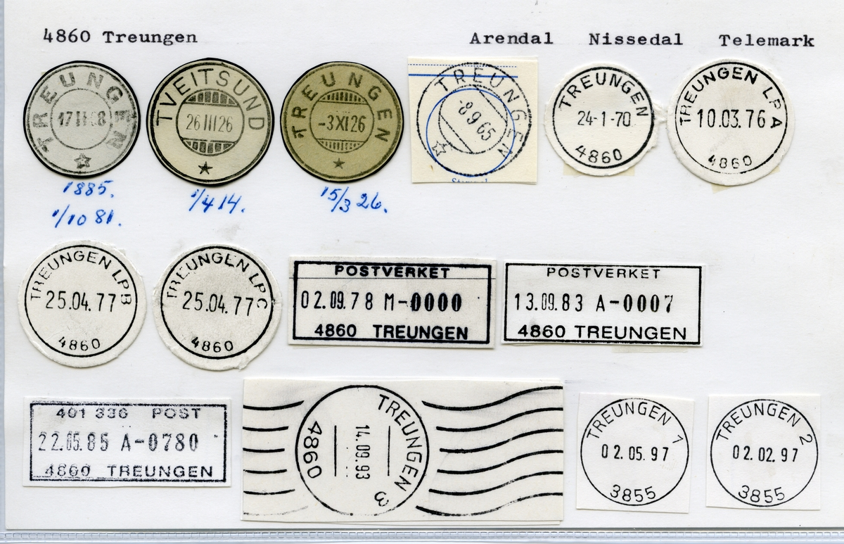 Stempelkatalog 4860 Treungen (Tveitsund), Arendal, Nissedal, Telemark