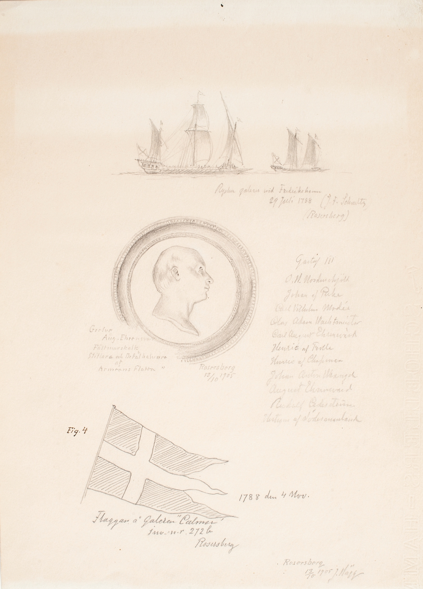 Minnestavla med bl a medaljong av Greve Aug. Ehrensvärd. Rosersberg 13/10 1905