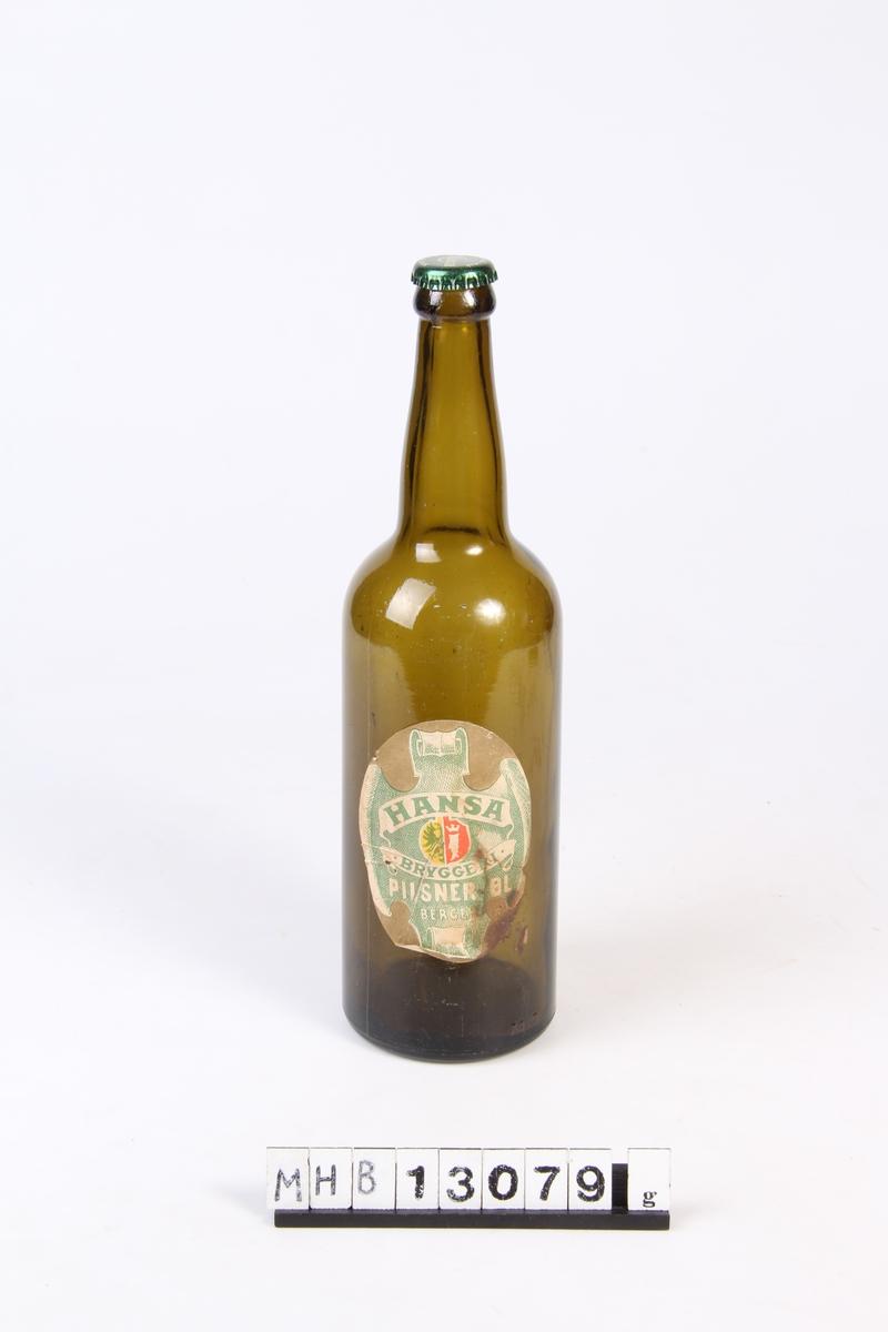Ølflaske med lokk og etikett