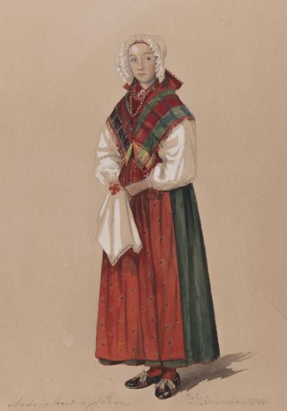 Annandagsbrud. Akvarell av P Södermark 1850.