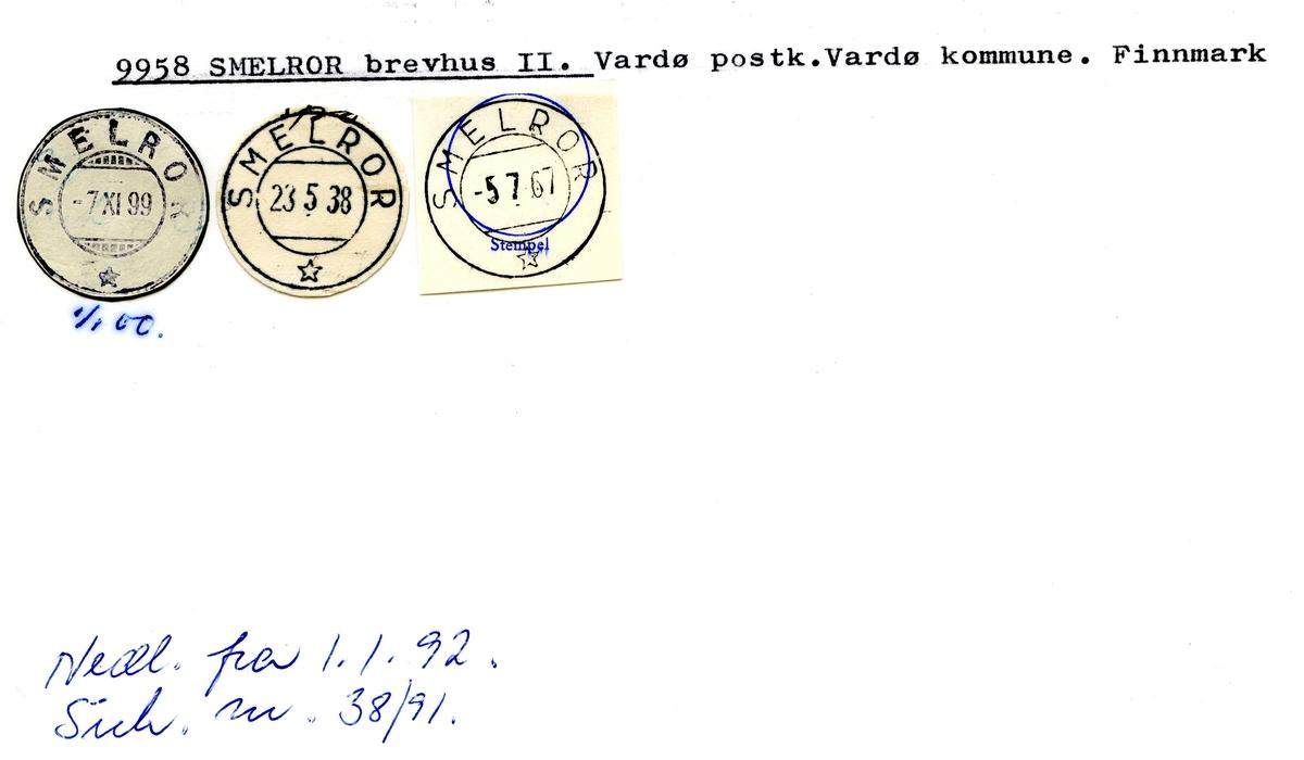 Stempelkatalog  9958 Smelror, Vardø kommune, Finnmark