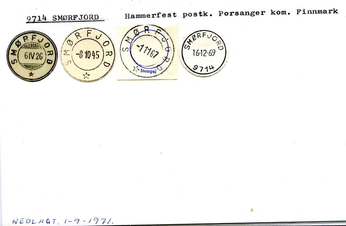 Stempelkatalog  9714 Smørfjord, Porsanger kommune, Finnmark