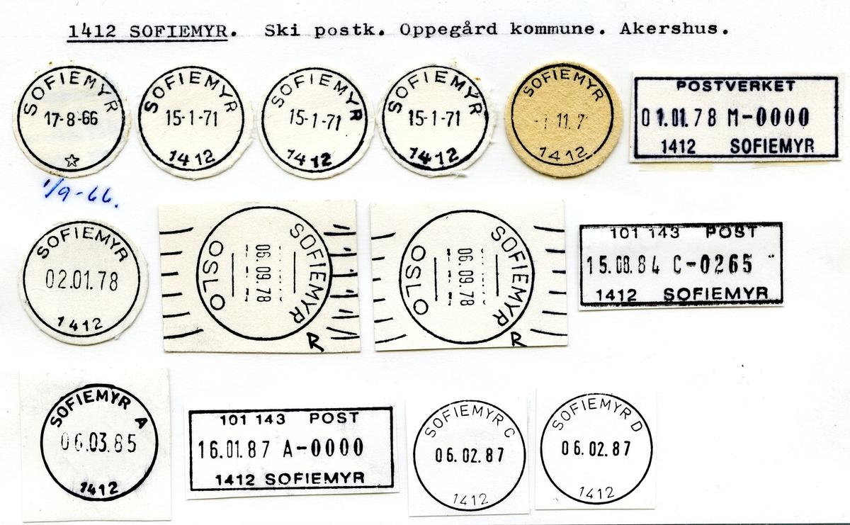 Stempelkatalog  1412 Sofiemyr, Oppegård kommune, Akershus