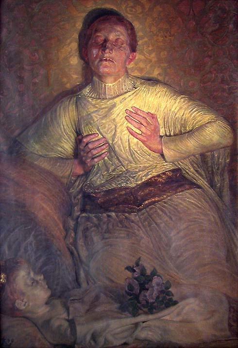 Erik Menveds dronning Ingeborg sørger ved sitt siste barns lik [Maleri]