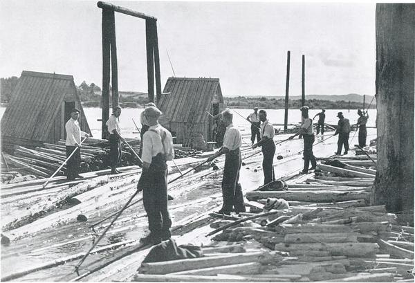 Historisk foto av personer som sorterer tømmerstokker ute på elva.. Foto/Photo