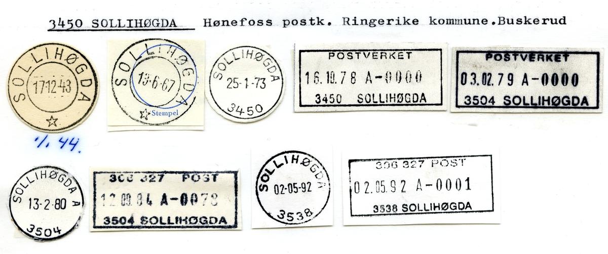 Stempelkatalog  3450 Sollihøgda, Ringerike kommune, Buskerud