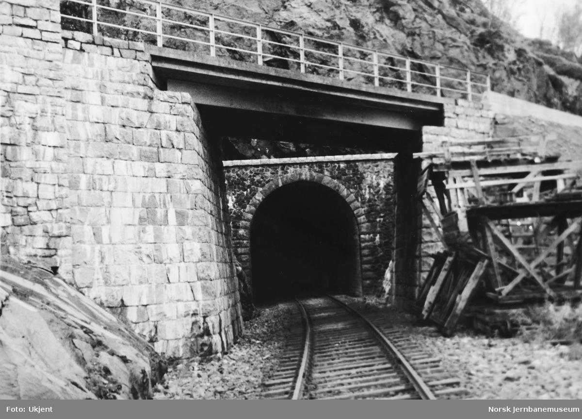 Anlegget Mosjøen-Mo i Rana : Rynesåsen tunnel, nordre innslag, pel 616, og bruovergang for riksveg