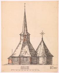 Gjenreisning av Vrådal kirke [Fasadeoppriss]