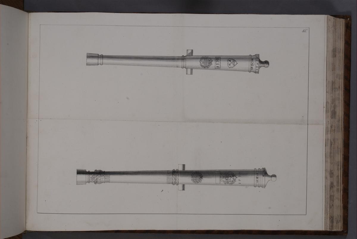 Avbildning föreställande eldrör tagna som troféer av den svenska armén utur Högpolen den 31 oktober 1703. Ingår i volym med avbildade kanontroféer tagna åren 1703-1706.