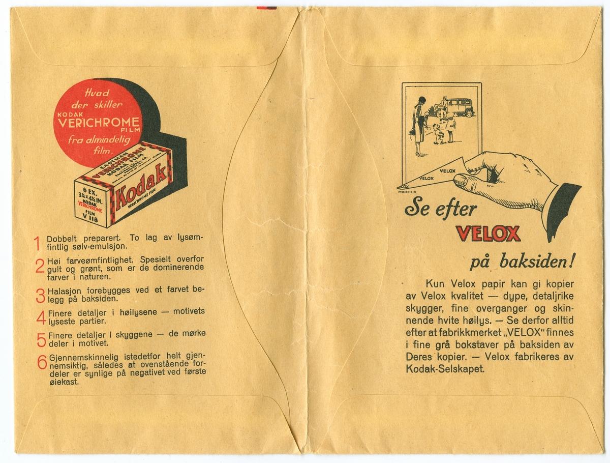 Konvolutt fra fotografen/ firmaet J.L. Nerlien AS, hvor seks negativer ble oppbevart.  Baksiden: Håndskrevet og trykket tekst.