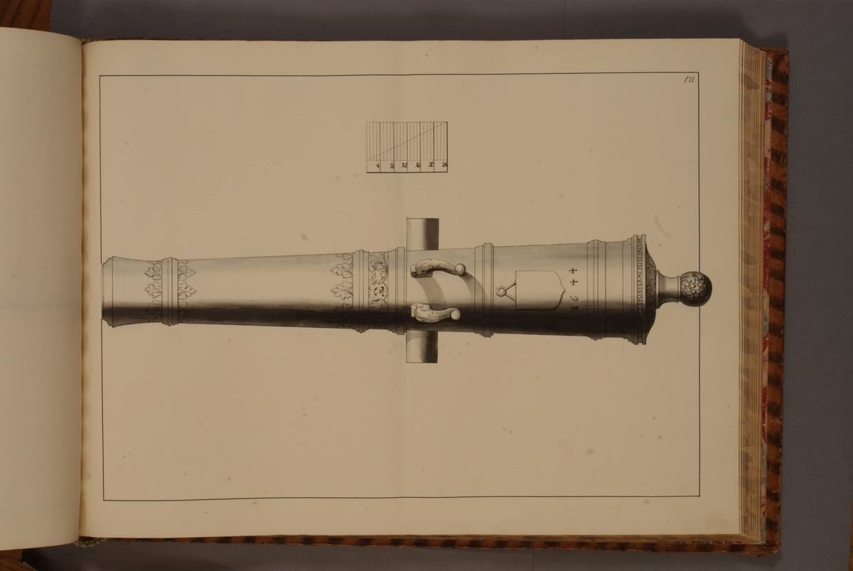 Avbildning föreställande dansk trofé med åtskilliga vapen. Ingår i volym med avbildade äldre svenska eldrör förvarade på fästningar samt eldrör erövrade åren 1598-1679.
