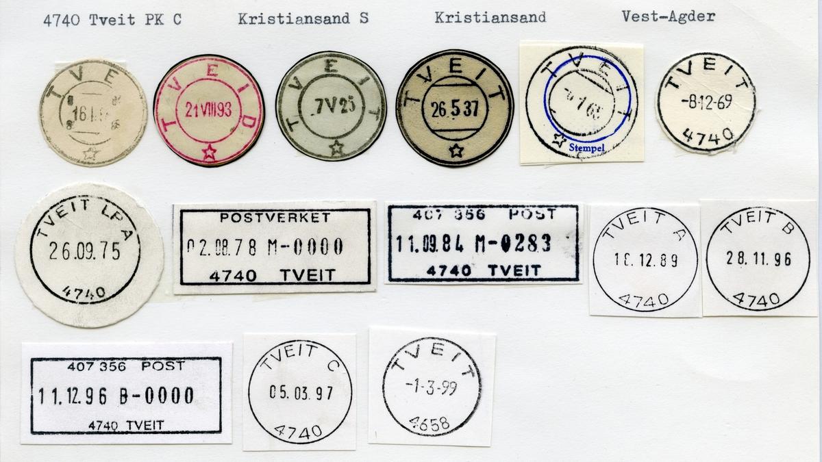 Stempelkatalog 4740 Tveit (Tveid), Kristiansand, Vest-Agder