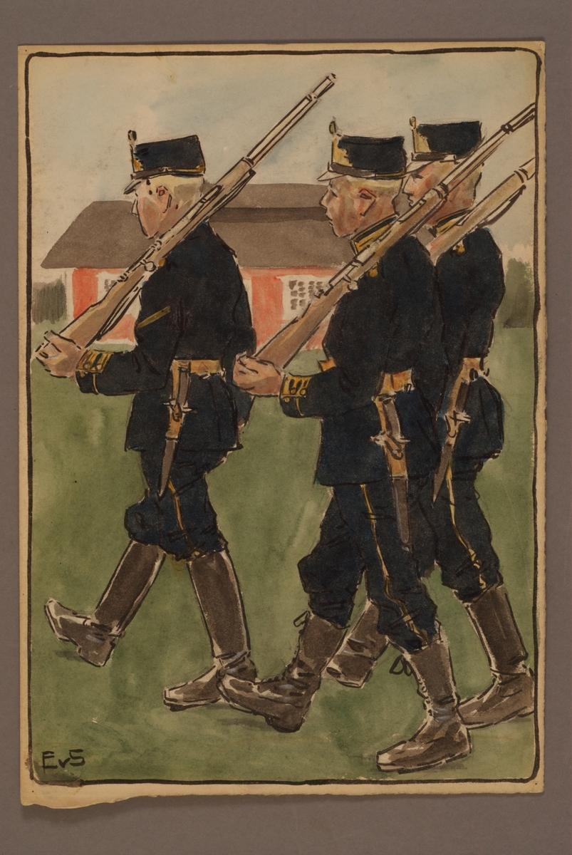 Plansch med uniform för Smålands grenadjärkår, ritad av Einar von Strokirch.