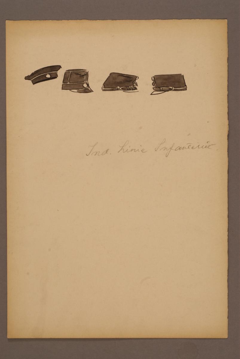 Plansch med huvudbonader för Indelta linjeinfanteriet, ritad av Einar von Strokirch.