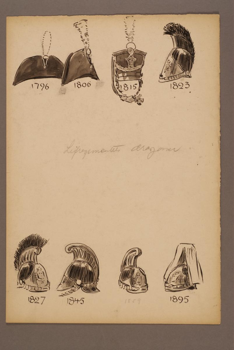 Plansch med huvudbonader för Livregementets dragoner för åren 1796-1895, ritad av Einar von Strokirch.