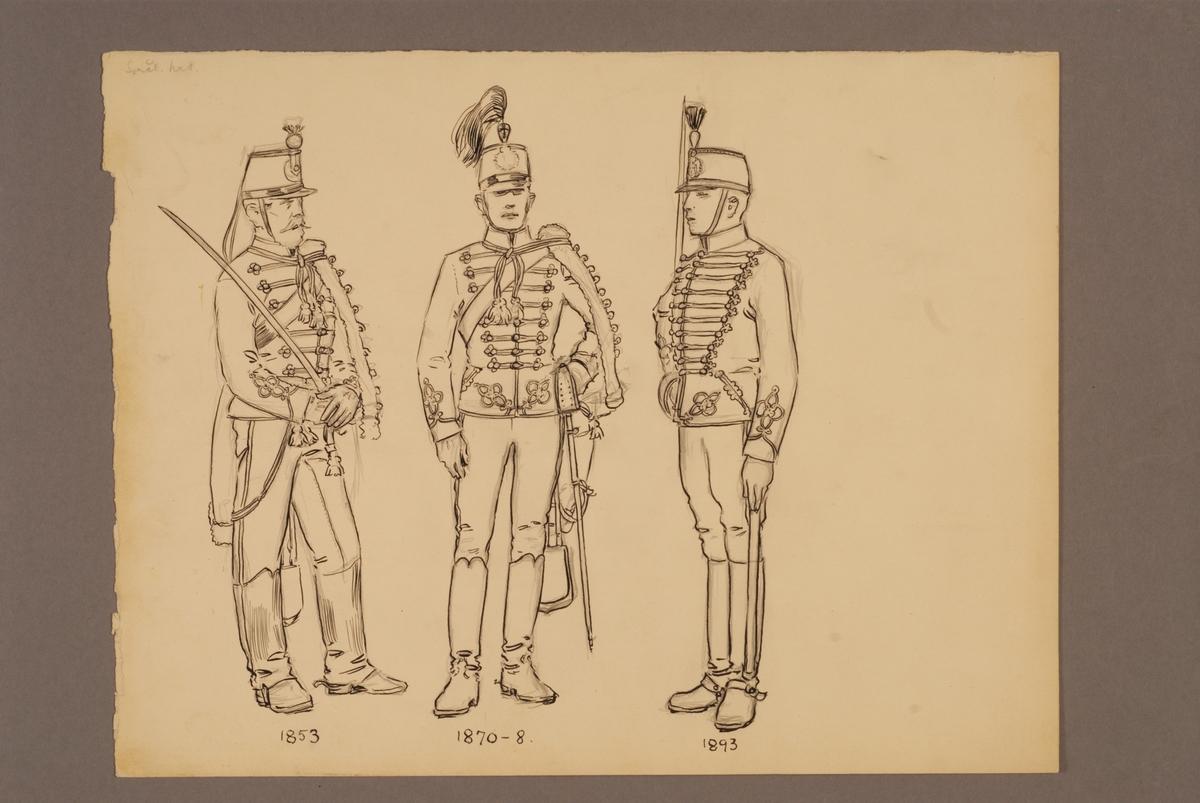 Plansch med uniform för Smålands husarregemente för åren 1853-1893, ritad av Einar von Strokirch.
