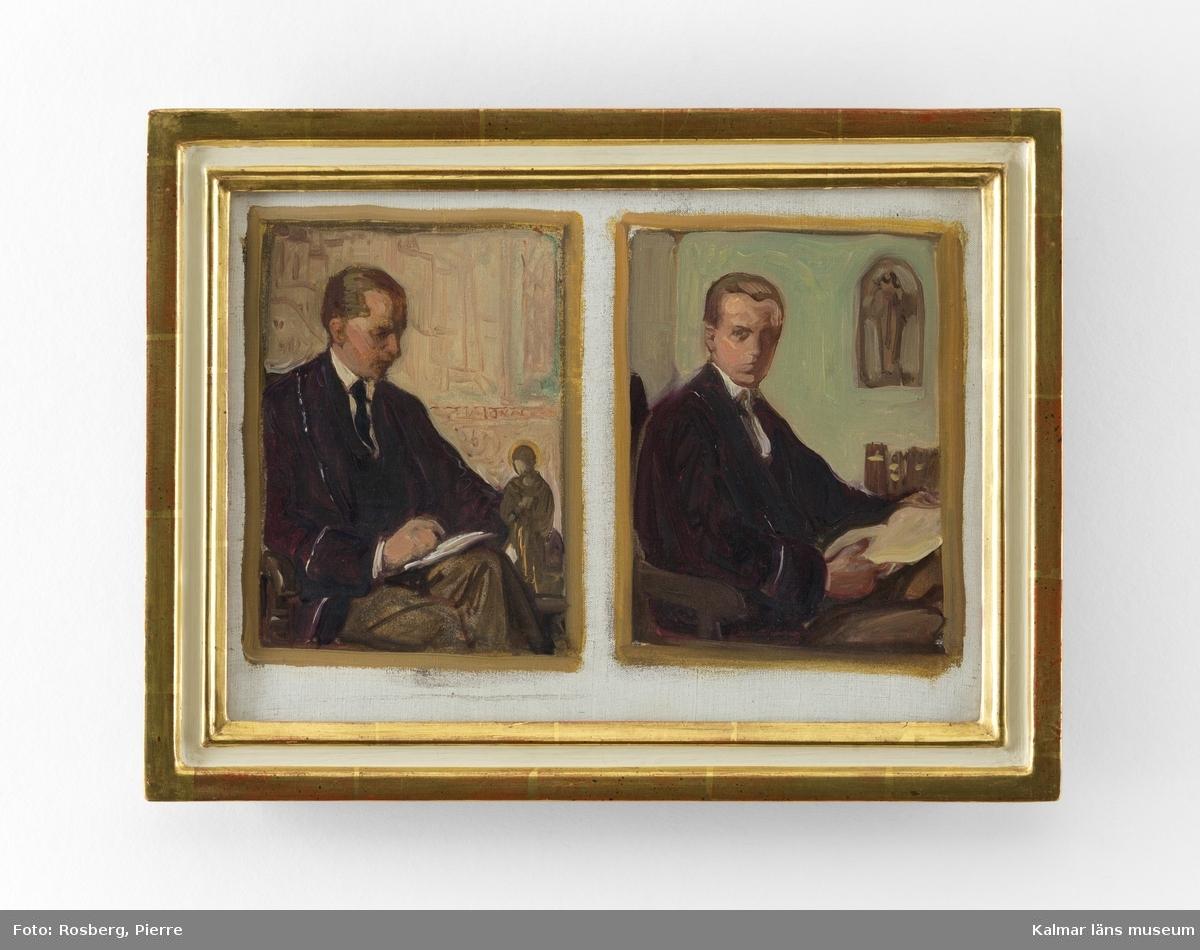 KLM 45720 Tavla, olja på duk. Två skisser till porträtt, båda inramade i gemensam ram. Skisser av professor och konsthistoriker Johnny Roosval, målad av konstnären Nils  Asplund. Skisserna är förstudier till porträtt av Roosval som finns på Hallwylska museet.