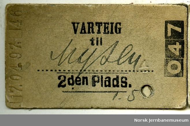 Billett Varteig-Mysen , 2den Plads, stemplet 1897  Selv om Varteig endret navn til Ise i 1886 ble billett med gammelt navn brukt 11 år senere!