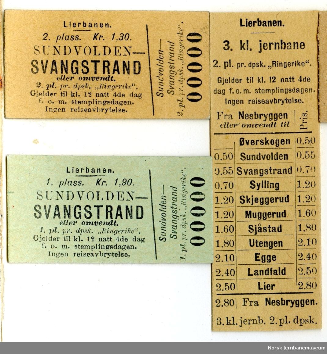 Diverse billetter Lierbanen, ubrukte