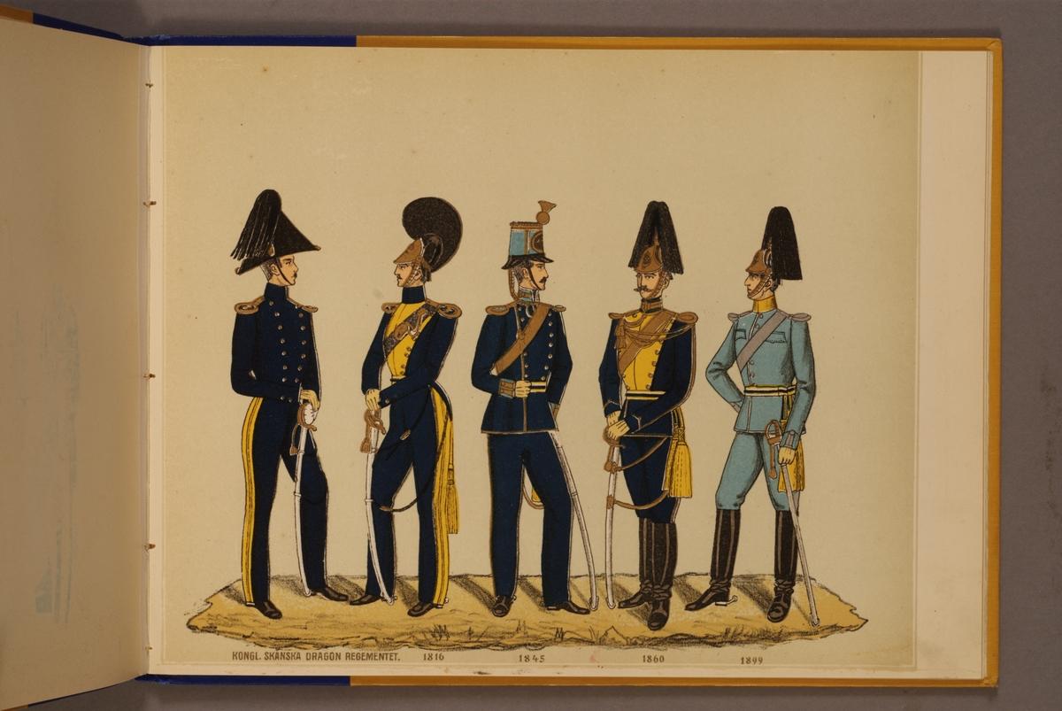 Plansch i färgtryck med uniform för Skånska dragonregementet för åren 1816-1899. Ingår i planschsamlingen Svenska arméns och flottans officersmunderingar utgiven av P.B Eklund.
