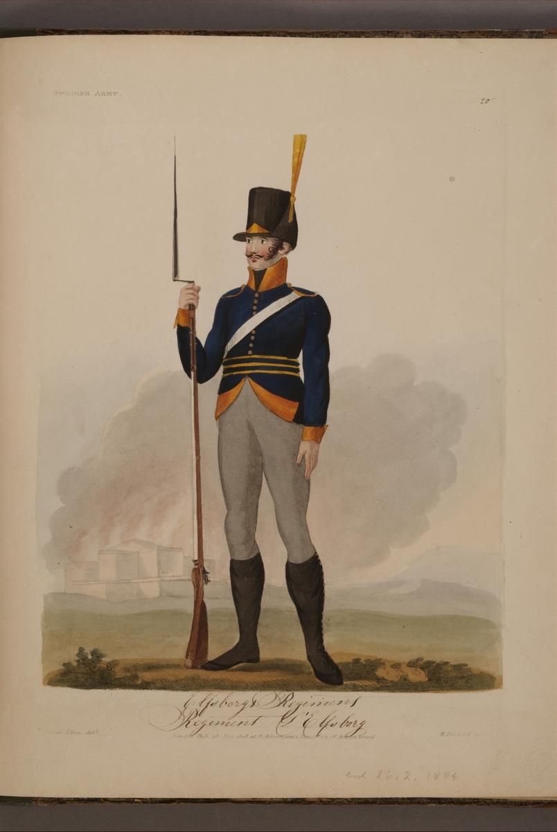 Plansch med uniform för Älvsborgs regemente, ritad av Frederic Eben i boken The Swedish Army, utgiven 1808.