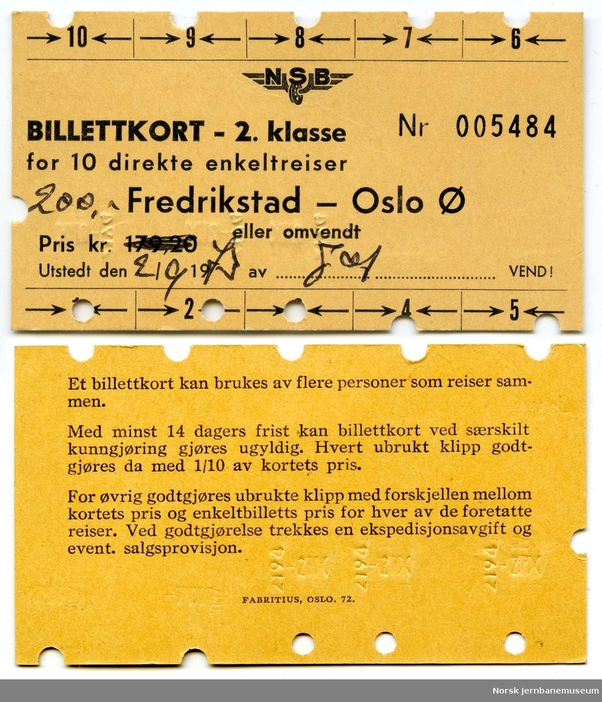 Billettkort Fredrikstad-Oslo Ø, 2. klasse
