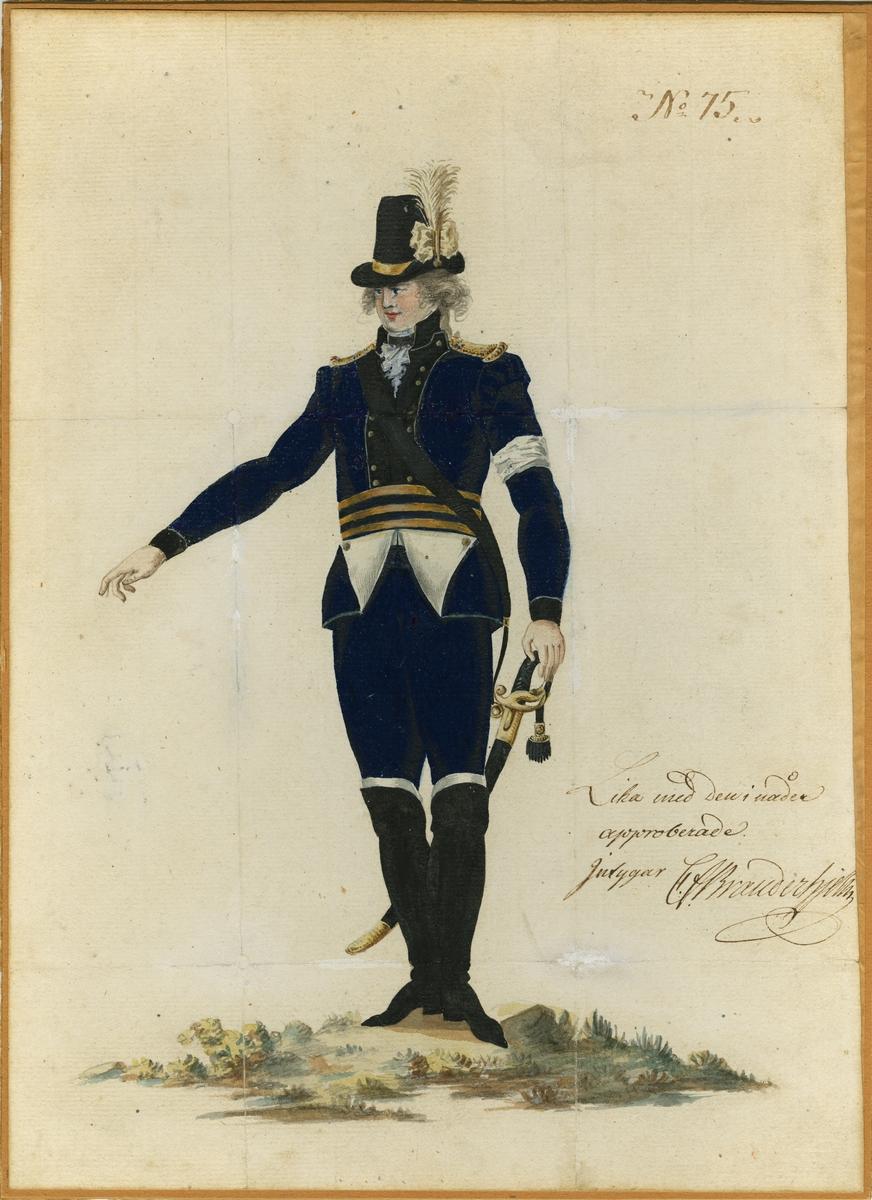 """Akvarell med uniformsskiss för Fortifikationsstaten, """"lika med den i nåder approberade""""."""