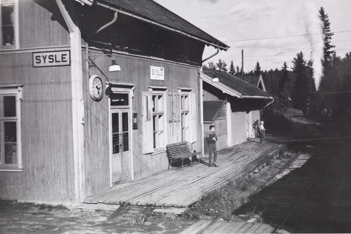 Fra Sysle stasjon. A/L Hølandsbanens veterantog fra Krøderen til Drammen under oppholdet på Sysle stasjon.