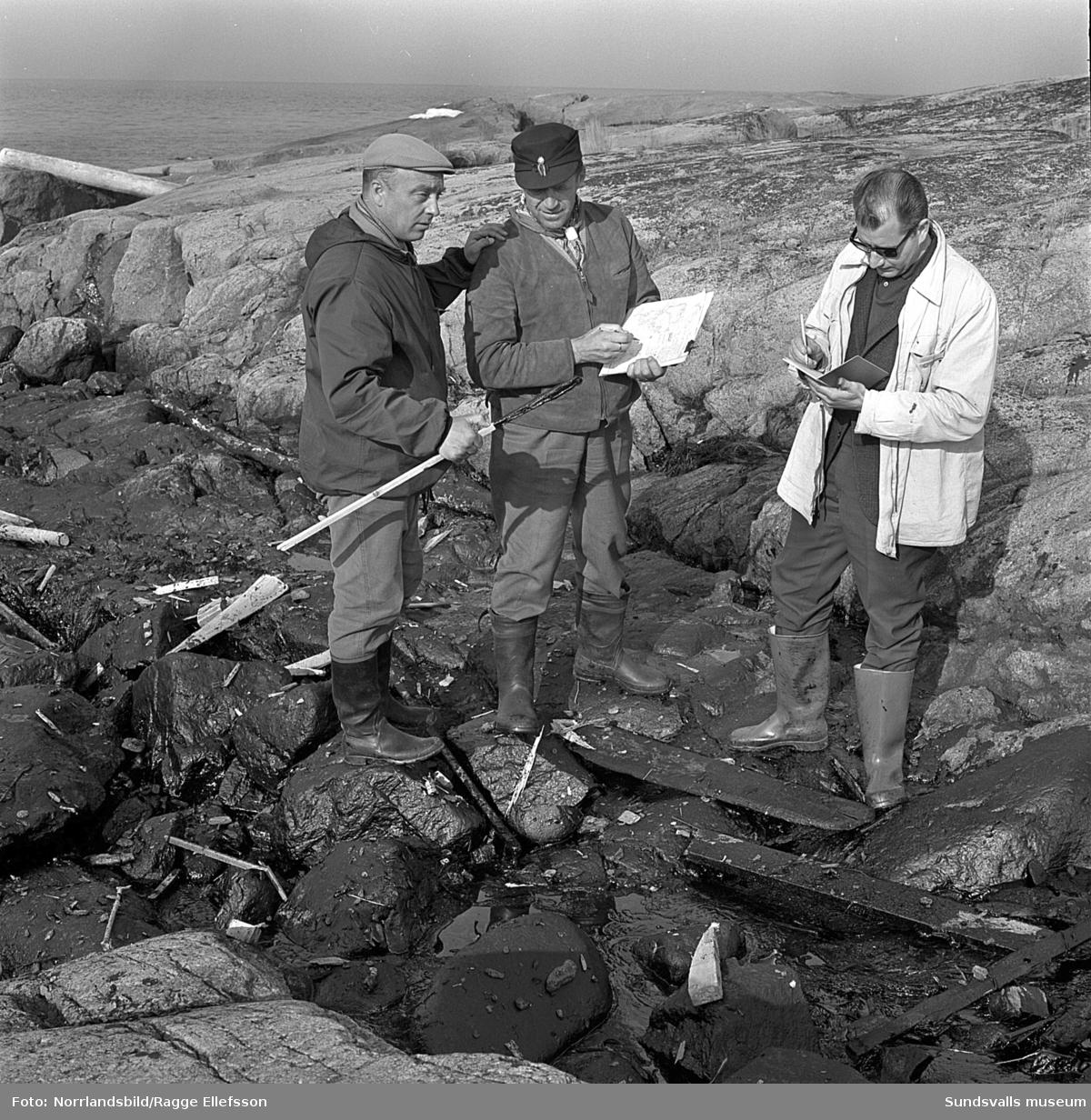 Kartläggning av oljeskadorna vid Medelpadskusten efter den norska oljetankern Gogstad som strandade och bröts sönder vid Bremö kalv den 1 december 1964.
