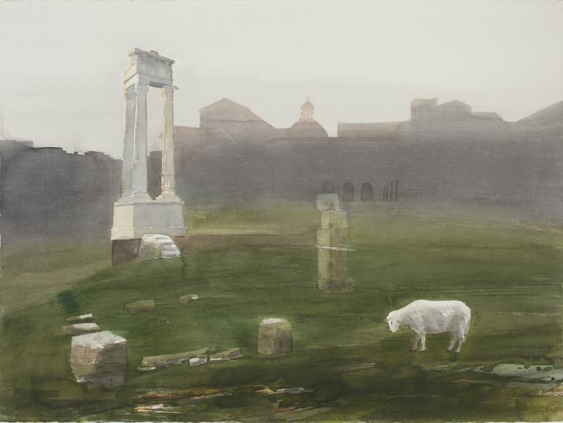 Romersk aften av Kjersti Eliassen, akvarell