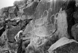 Ristning på bergvägg, Big Petroglyph Canyon, Kalifornien