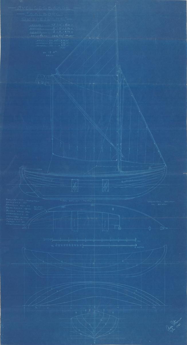 Linjeritning, spantruta, konstruktionsritning med segelplan