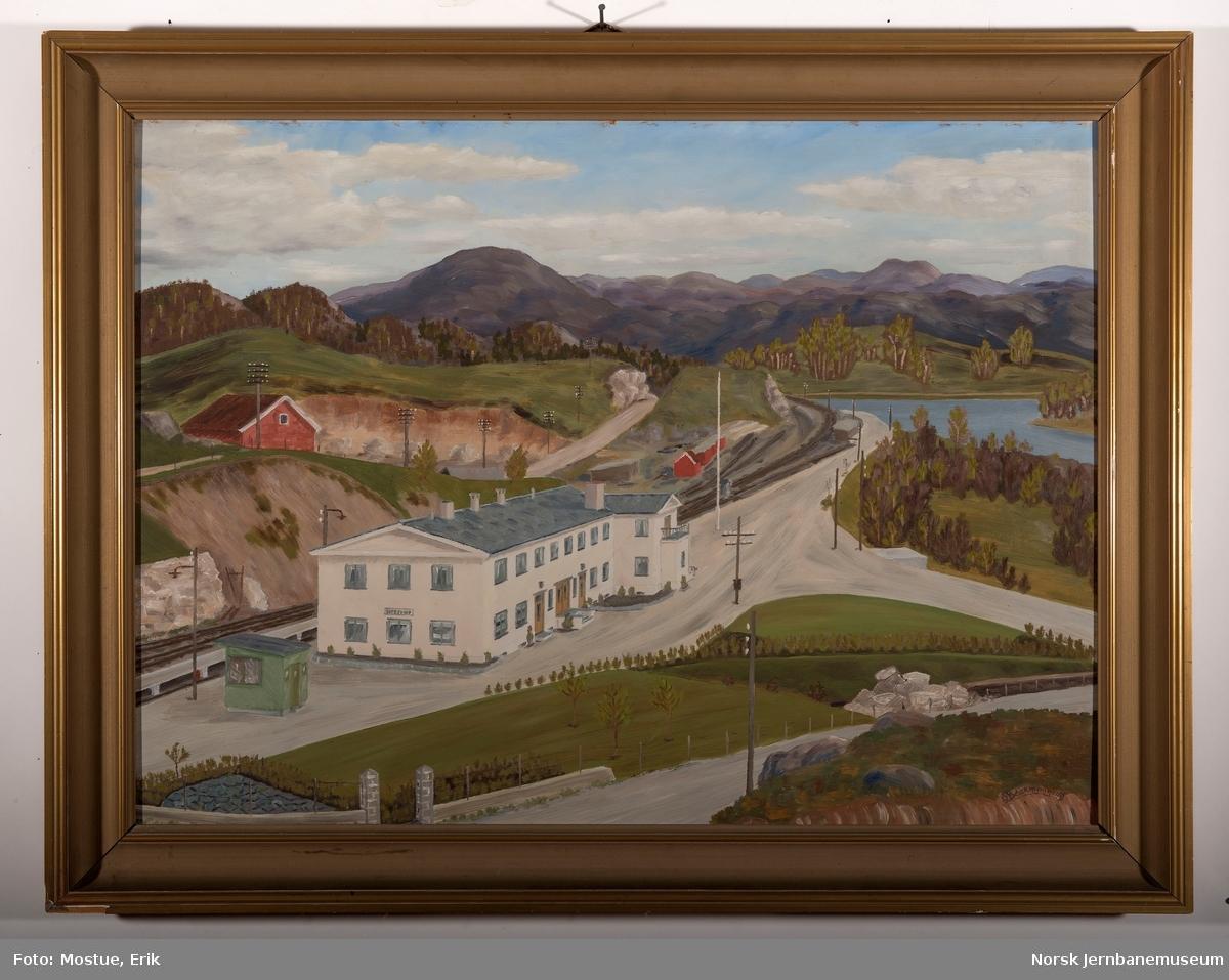 Maleri med ramme : Egersund stasjon