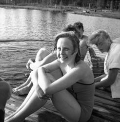Badplats i Ställdalen, badande barn.