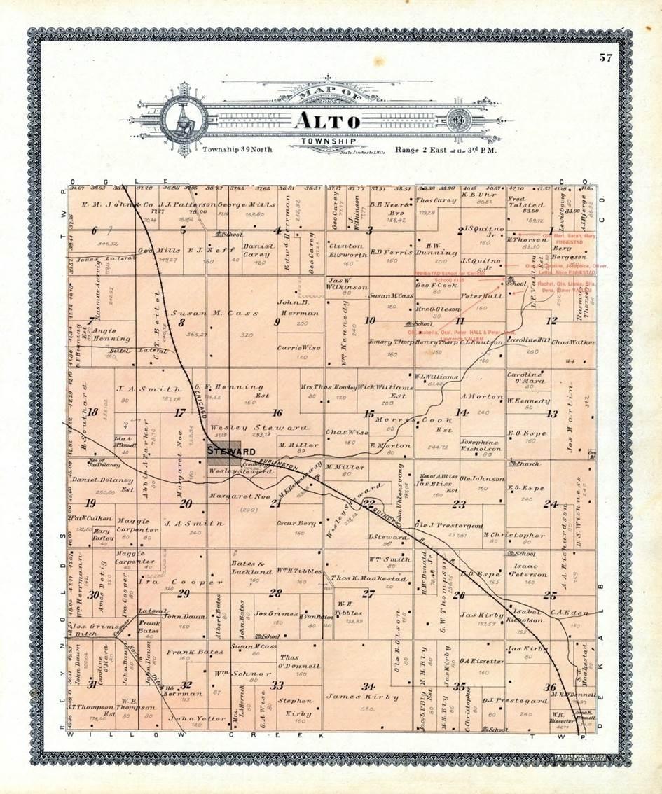 Kart over Alto Township. Mikkel Knutson og hans familie slo seg ned i Alto route 11,1 squaremile section i Alto township, Lee county Illinois.