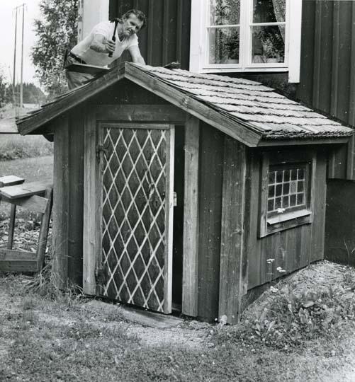 Rengsjö.  Källarsvale i Glösbo. Dörren från 1700-talet är från Bjuråker.