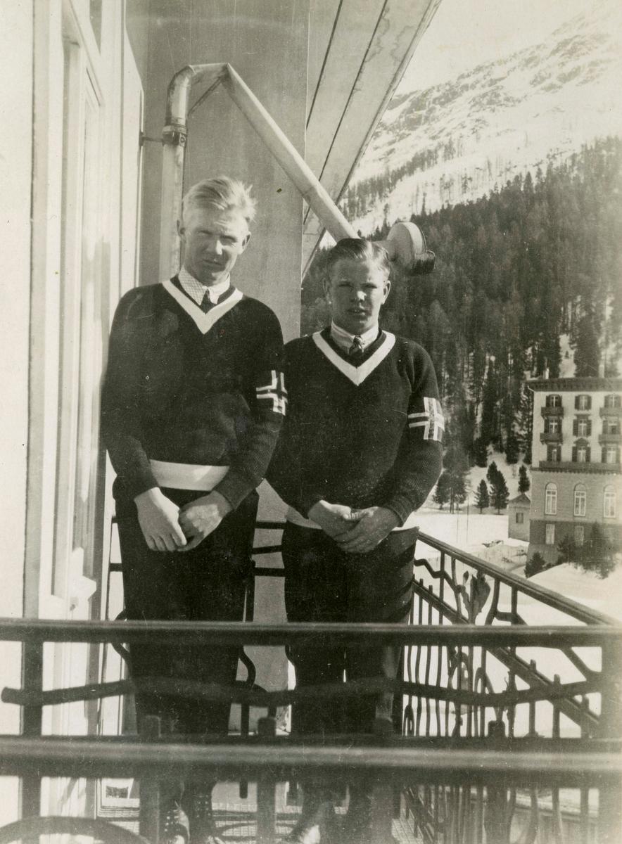 Norwegian skiers Hans Kleppen og Sigmund Ruud ay St. Moritz