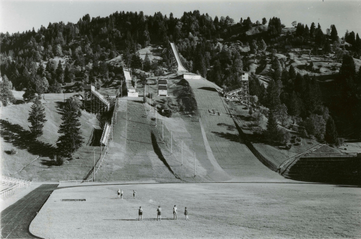 Ski jumping facilities at Garmisch in the summer time