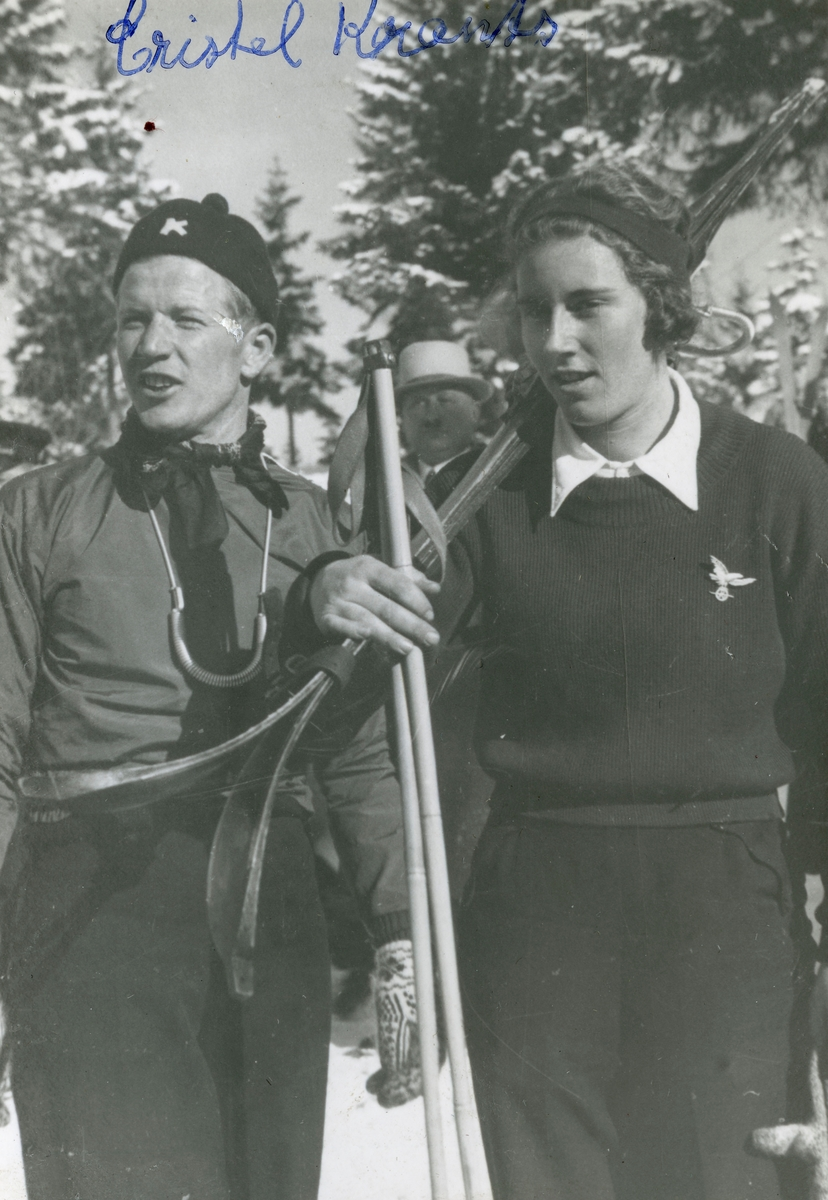 Athlete Birger Ruud with Cristel Knaritz at Garmisch