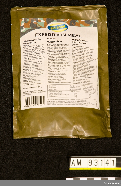Förpackning med sk Expedition Meal. Orientalisk kyckling med couscous.