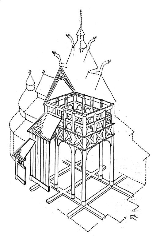 Tverrsnitt av Gol stavkirke. Tegning av arkitekt Arne Berg.
