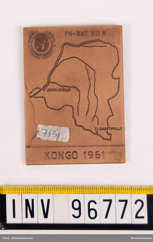 Plakett i brons för Svenska FN-bataljonen XII Kongo 1961.