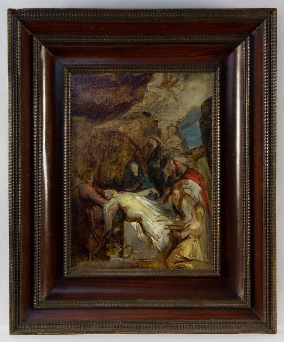 Kristi gravläggning, skissartat utförande. Den döde Jesus, helfigur naken, ligger ner. Han är omgiven av bland annat Maria och ett flertal personer. Klippbakgrund med en öppning mot himlen.