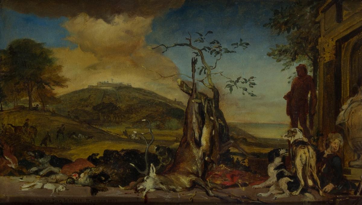 Jaktscen. Ett öppet landskap med en kulle i bakgrunden. I mellangrunden jägare och ryttare. I förgrunden ett antal skjutna villebråd som t.ex. en hjort upphängd i ett träd, hare och vildsvin. Till höger en sittande ung man och två jakthundar. Bakom mannen delar av en byggnad.