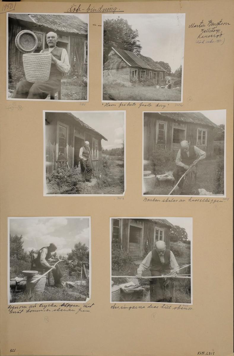 Löb-bindning. 10 svart-vita bilder uppklistrade på ett kartongarks fram- och baksida.