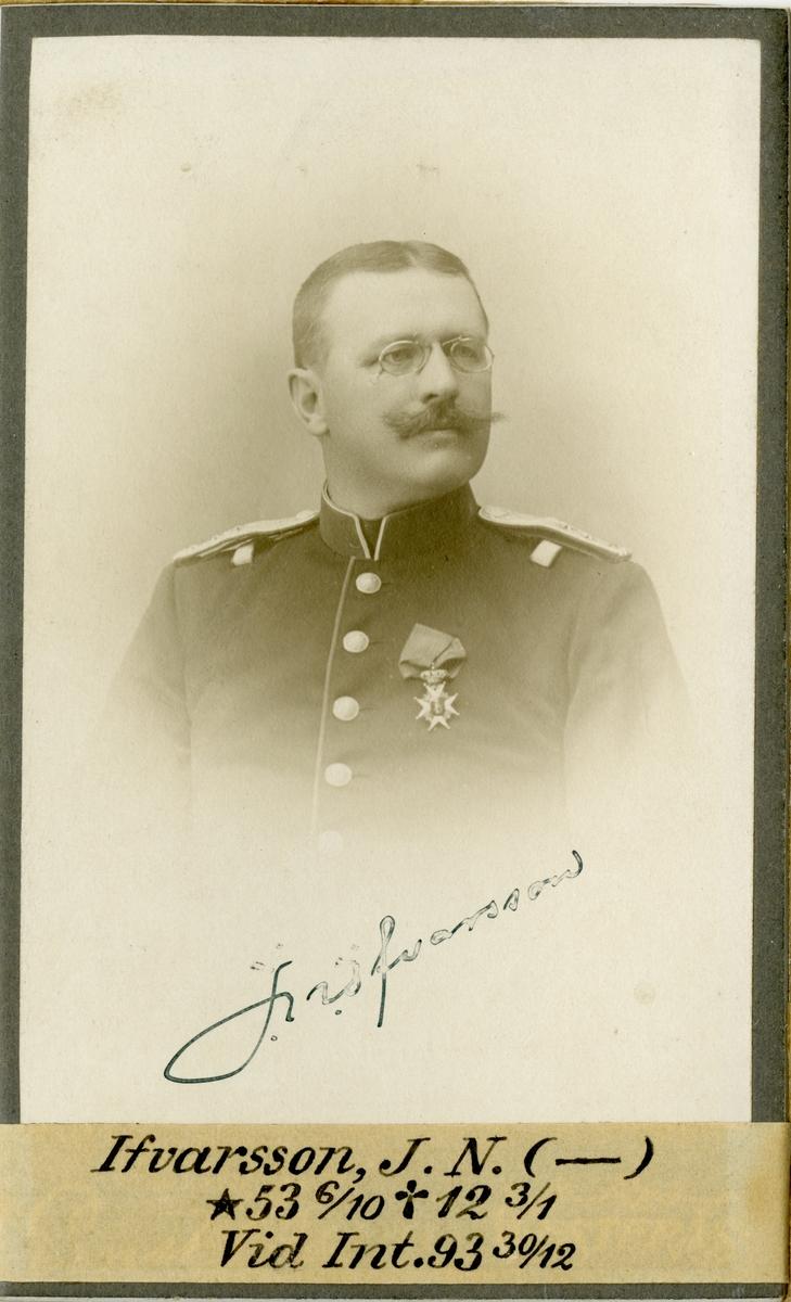 Porträtt av Johan Nathanael Ifvarsson, intendent vid Intendenturkåren.