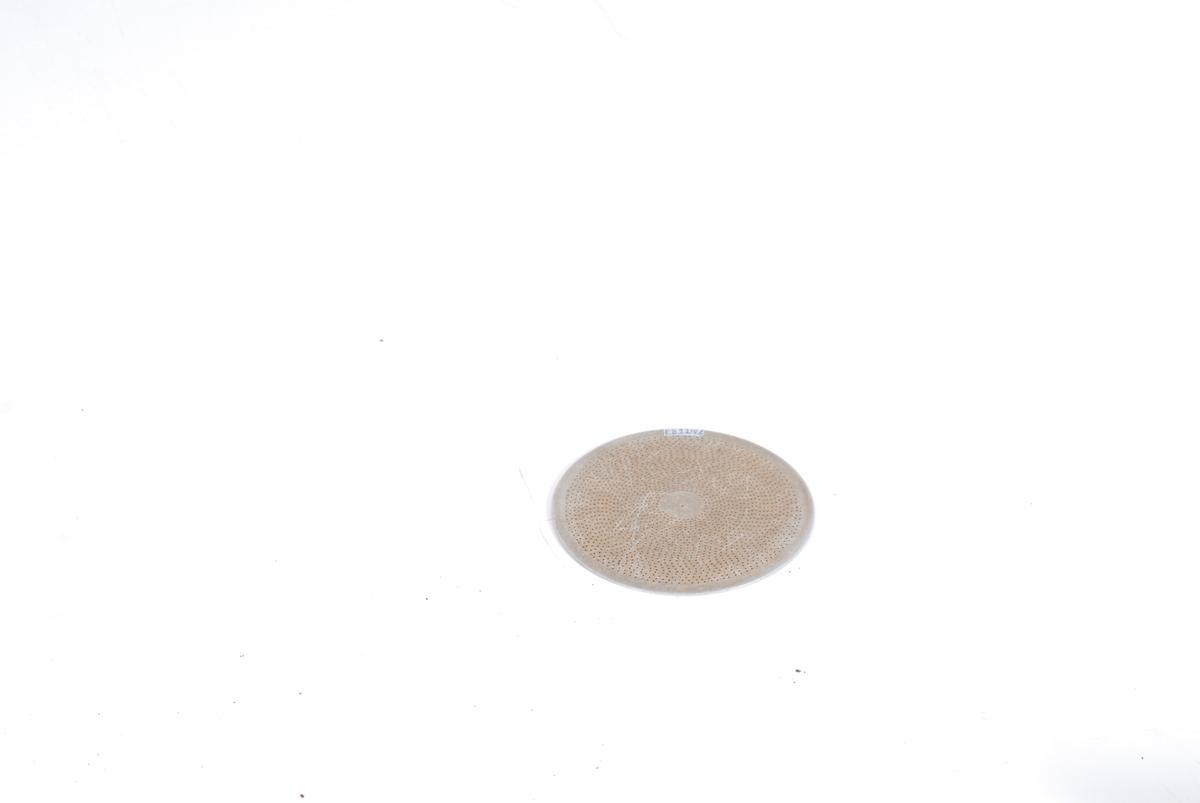 Form: A) rund, svakt buet, B) rund, flat B) Hull Di 1 mm, sil Di 12,0.