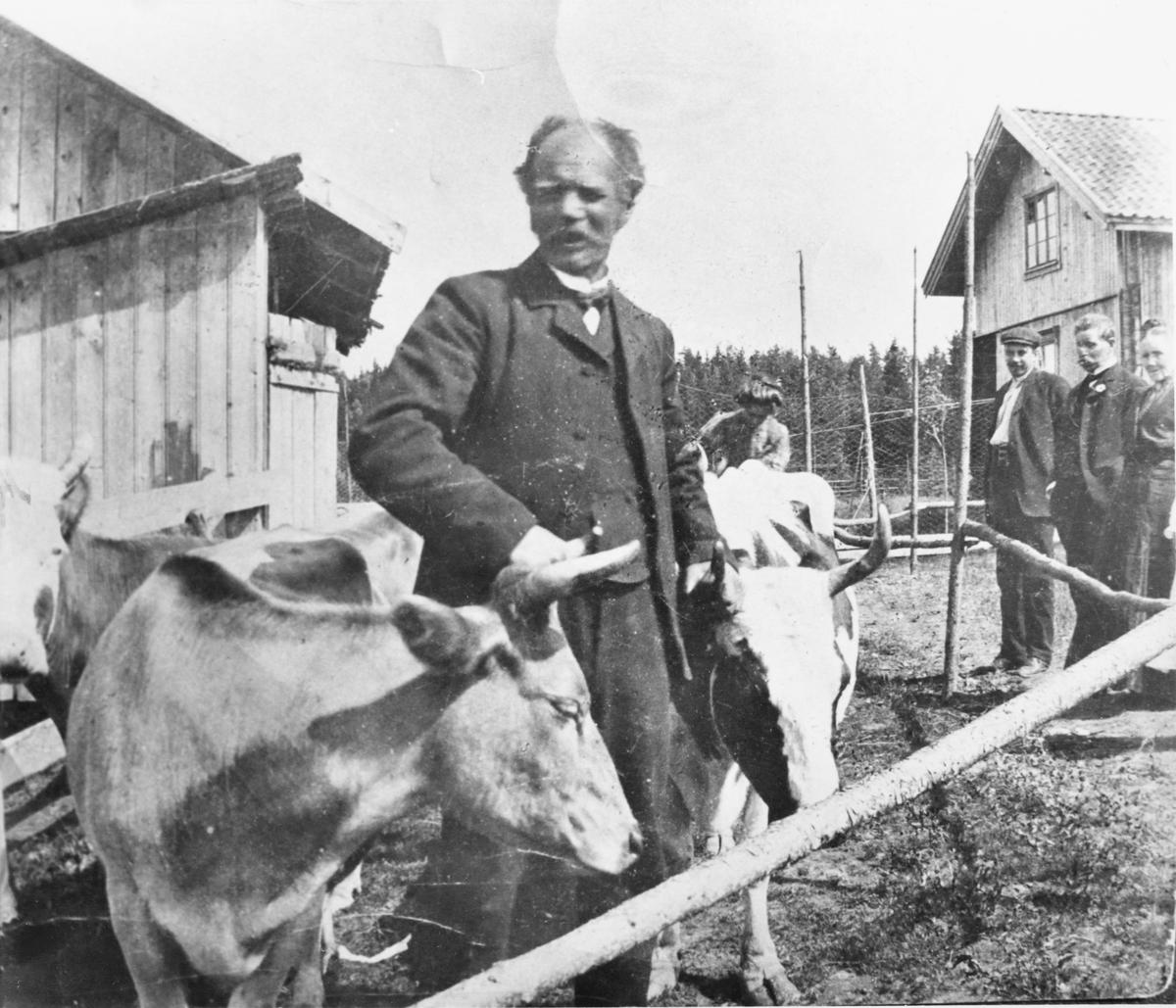 Andreas Hellerud på tunet på gården Hellerud i Blaker, ca. 1911.