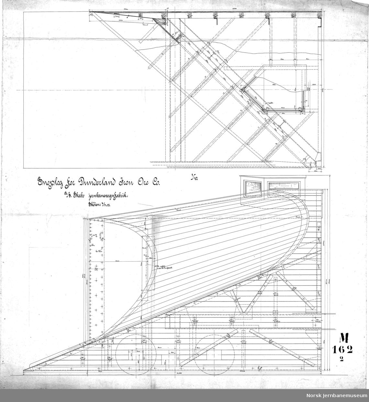 Sneplog for Dunderland Iron Ore Co,  162-01 Plogen 162-02 Plogen 162-03 Plogen 162-03B Knuteplater til spant 162-04 Understilling m.v. 162-05 Sneplog 162-07 Sporrenser 162-08 Skelet for sneplogving 162-09 Forreste Bogie  Det finnes flere detaljtegninger, i alt 16 tegninger